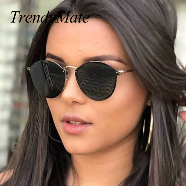 5f9c125b1d TrendyMate BRAND DESIGN Fashion Ladies Cat Eye Sunglasses Metal Legs Mirror  Rimless Sun Glasses Women Shades