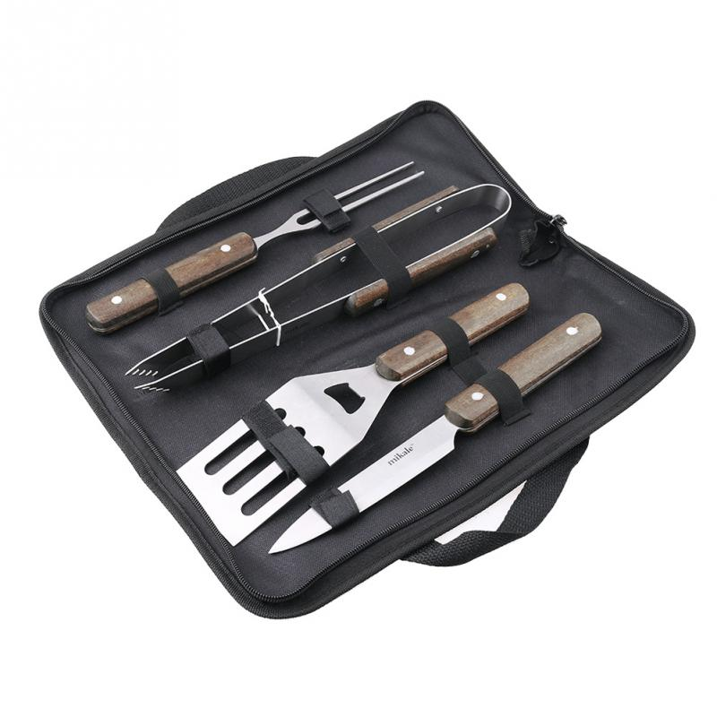 4pcs/set Stainless Steel BBQ Grill Accessories Barbecue Set BBQ tongs+knife+fork+shovel BBQ Cooking Tools Set Tool Combination