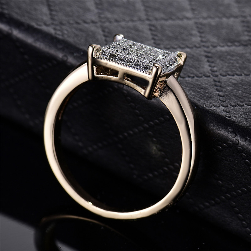 BUDONG Infinity Ring para mujer Valentine Fashion Large Square Gold - Bisutería - foto 3