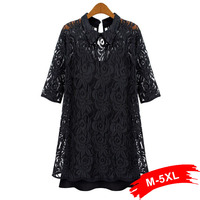 2017 primavera sexy mulheres plus size rendas twinset dress m l 5xl casual dress two-piece outfits oco out lace chiffon casual dress