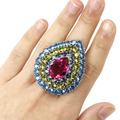 7 # Большой Падение Многоцветный Розовый Турмалин, голубой Топаз, перидот SheCrown Создан женщины Серебряное Кольцо 44 х 36 мм