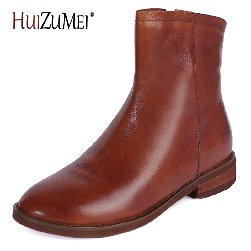 HUIZUMEI Retro women boots Short Boots Round toe genuine leather Shoes Zipper Winter boots Autumn women shoes new arrival superstar genuine leather chelsea boots women round toe solid thick heel runway model nude zipper mid calf boots l63