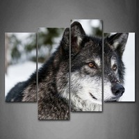 Framed Wall Art Pictures Wolf Snowfield Canvas Print Animal Modern Posters With Wooden Frames For Home Living Room Decor