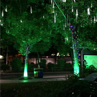 Waterproof Solar LED Outdoor 30cm 8 Tube Meteor Shower Rain Lights Falling Snow Christmas Tree Lights Garden Party Decoration