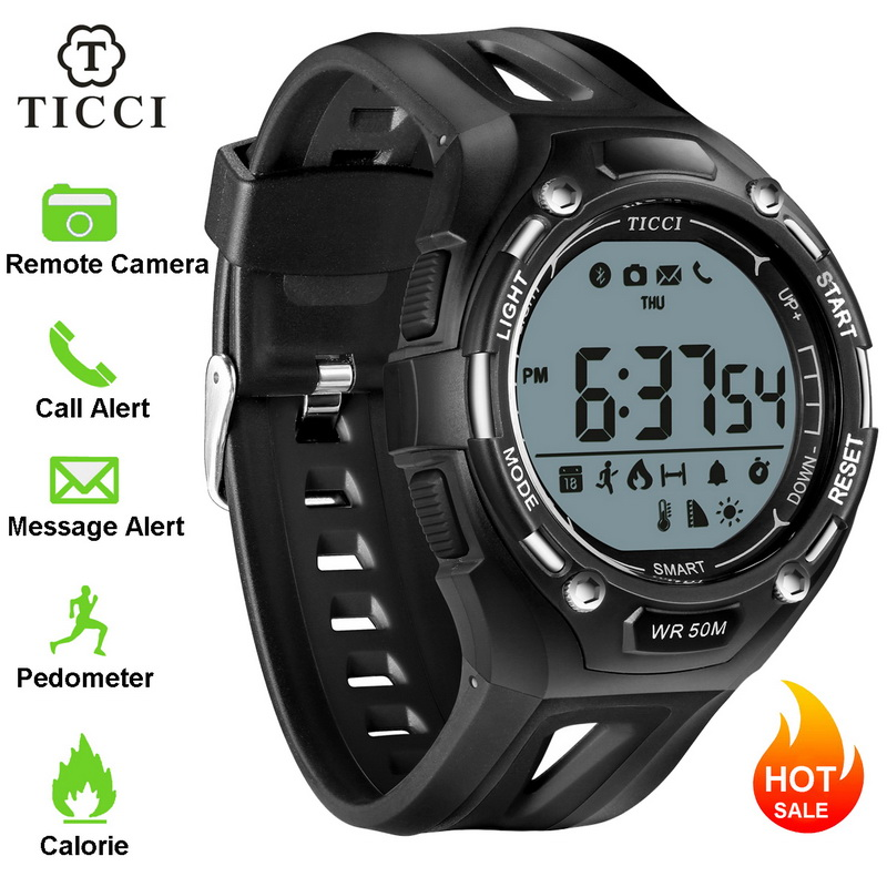 TICCI Fitness Tracker Digital Sports Bluetooth Smart Watch Pedometer Call Message Reminder Smartwatch Men Boys Teen IOS Android