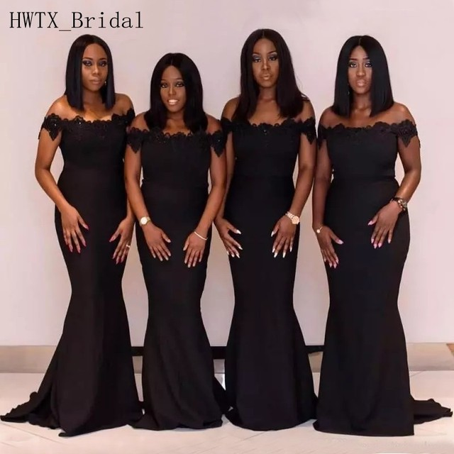 Black Sexy Mermaid Bridesmaid Dresses Lace Off Shoulder Short Sleeves Long  Maid Of Honor Gowns 2018 Cheap Wedding Guest Dress b26b8e65513e