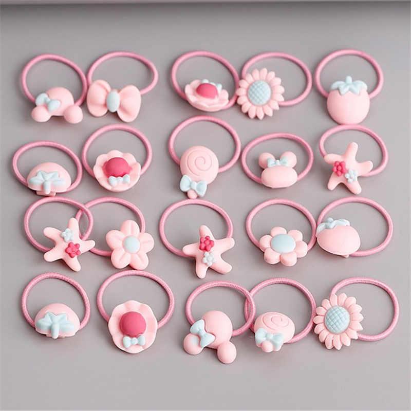 40 יח'\חבילה קוריאני אופנה חמוד גומיית כיסוי ראש תיבת סט אלסטי להקות שיער פרח גומייה קריקטורה בנות שיער אביזרים