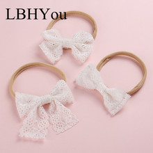 2019 Newest Knot Bow Lace Nylon Headbands,Girls Bowknot Stretchy Elastic Hairbands,Kids Soft Head Bands Hair Accessories