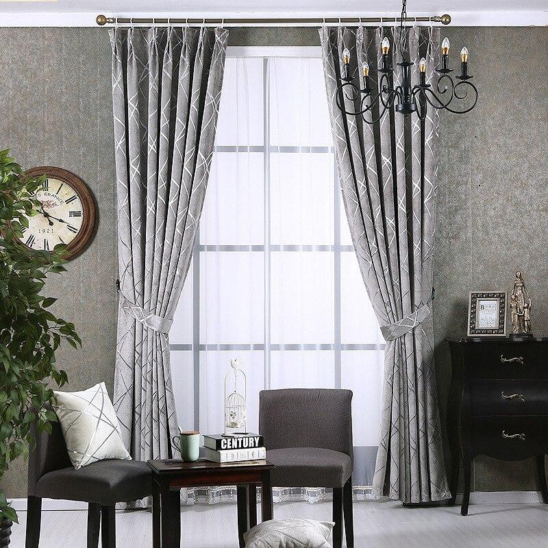 estilo europeo simple de cortinas modernas para saln comedor dormitorio plata gruesa piel jacquard chenilla cortinas