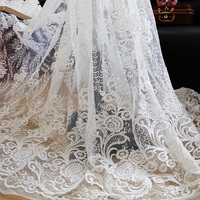 1Yard Embroidered Lace Trim Sequined Lace Fabric Sewing Supplies DIY Applique Decoration Ribbon Curtain Apparel