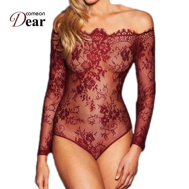 38770f07c9d Comeondear Long Sleeve Bodysuit Plus Size Black Bodies Woman Sexy Floral  Jumpsuit Off The Shoulder Lace Mesh Bodysuit RJ80549