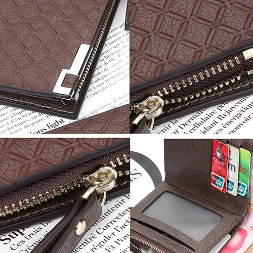 Men s Short Faux Leather font b Tartan b font Pattern Zipper Wallet Card Money Clutch