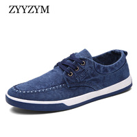 ZYYZYM Men Canvas Shoes Spring Summer Lace Up Style Denim Breathable Fashion Casual Shoes