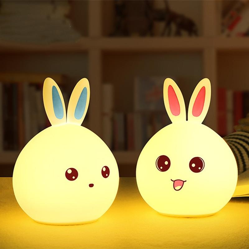 หลากสีซิลิโคนกระต่าย LED ไฟกลางคืนเซ็นเซอร์สัมผัสแตะควบคุมสัปหงกเด็กเด็กเด็กโคมไฟข้างเตียงสำหรับของขวัญ