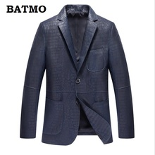 Batmo 2018 new arrival autumn sheepskin real leather jackets men slim blazer