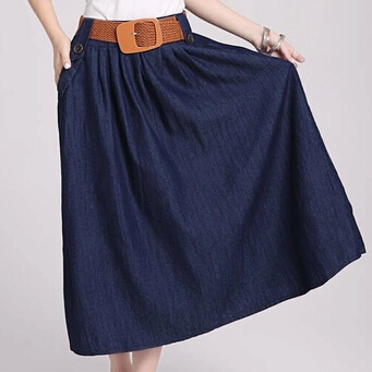 Nuevo 2015 marca faldas para mujer denim azul larga falda azul marino de la  alta cintura de los pantalones vaqueros falda faldas en de en  AliExpress.com ... f37d8929dc7f