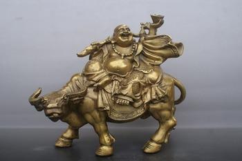 35cf349ae61a Китайский Старый бронзы Maitreya буддийский бык Бог Статуя медная