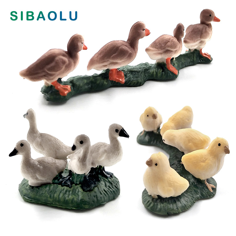 Farm Simulation Chicken Duck Goose animal model Bonsai figurine home decor miniature fairy garden decoration accessories modern(China)
