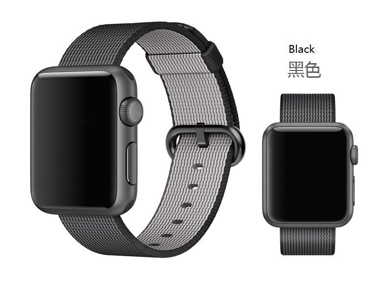 Nuevos lanzamientos 1: 1 Woven Nylon Watchband para Apple Watch 42mm 38mm con adaptadores originales de acero inoxidable y 7 colores disponibles