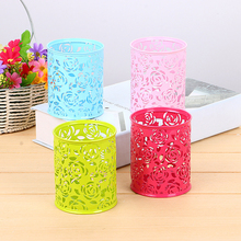 4PCS/Pakage Creative Hollow Rose Embroidered Metal Round Pen Holder Multi-function High Quality Desk Student Stationery Storage