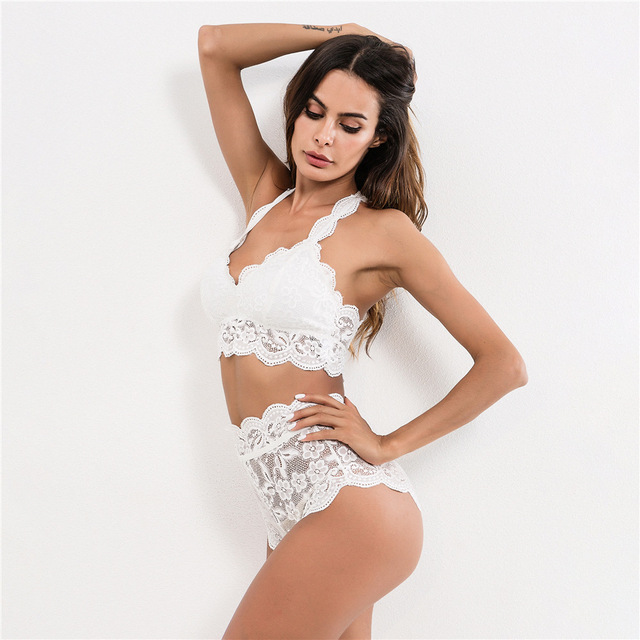 66d0a76e54 Women Sexy Lingerie Set Hollow Out Floral Lace Bra and Thong Brief  Sleepwear Unlined Bra Babydolls