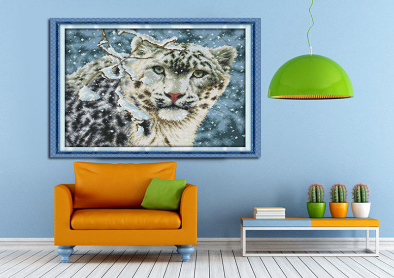 Free Ship Snow Leopard Counted Cross Stitch DMC 11CT 14CT Cross - Arts, Crafts and Sewing - Photo 3