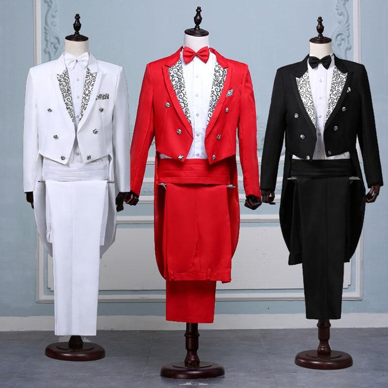 Men Suit Costume Coat Groom Tail Jacket--Pants Stage-Singer Lapel Wedding Black White