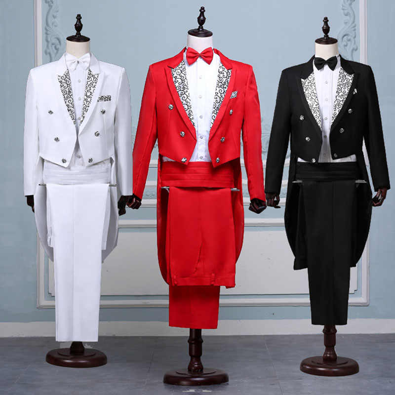 Men White Black Red Jacquard Lapel Tail Coat Stage Singer Costume Homme Wedding Groom Prom Tuxedo Suits Men Suit (Jacket+Pants)