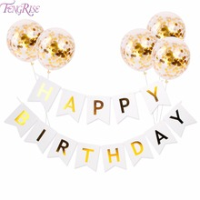FENGRISE Gold Happy Birthday Banner Confetti Balloons Letter Party Decorations Kids Favors Events