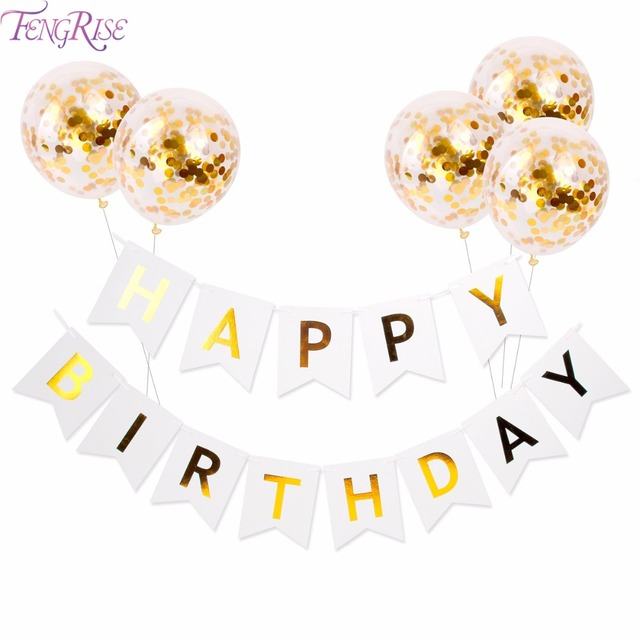 FENGRISE White Happy Birthday Banner Gold Confetti Balloons Letter Banner Birthday Party Decorations Boy Girl Kids Party Favors