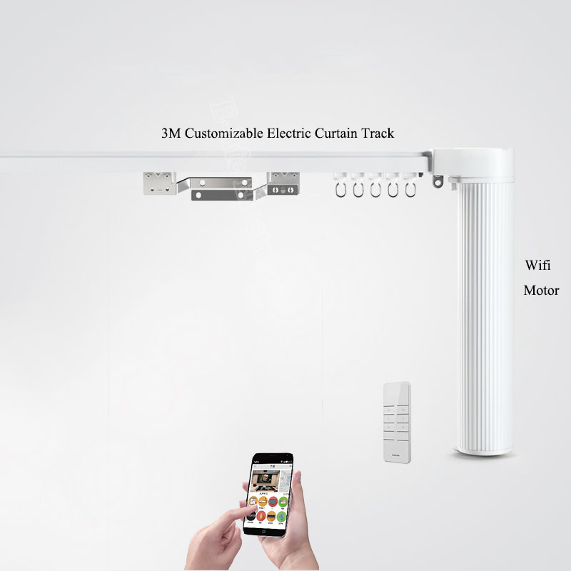 Ewelink Broadlink DNA Dooya WiFi Curtain Motor+3M Customizable Aluminum Electric Window Curtain Track Rod Rail IOS Android thick iron cage shaped window curtain track curtain rod straight track rail roman rod guide rails cornices