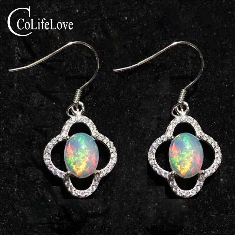 Elegant opal drop earrings for party 7 mm * 9 mm brilliant natural opal earrings solid 925 silver opal jewelry for wedding цена