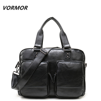 VORMOR Men's Briefcase Tote men messenger bag travel laptop bag for men document business Leather briefcase male leather