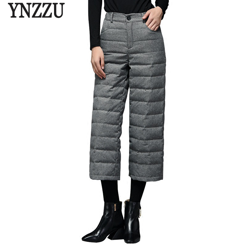 Elegant 2018 Winter White Duck Down Pants Women High Waist Wool Thicken Warm Wide Leg Pants Trousers Women High Quality AB120