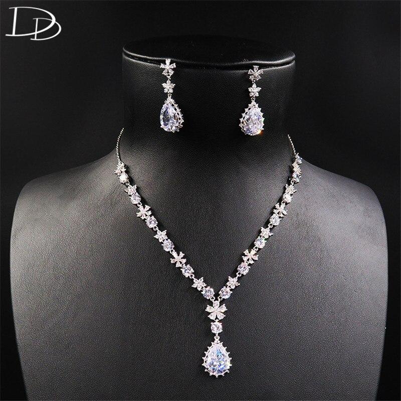 DODO Fine bijoux goutte d'eau AAA CZ boucles d'oreilles collier bijoux ensembles fête fiançailles femme or blanc couleur accessoires D15267
