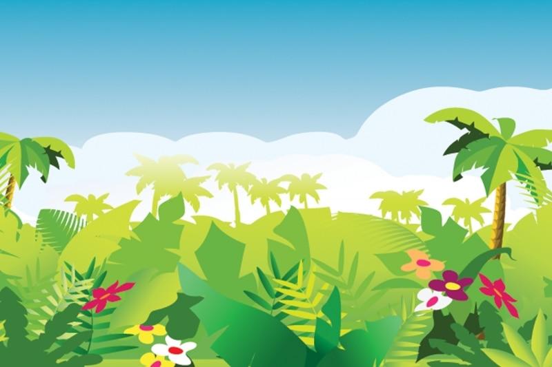Mural Cartoon Jungle W...