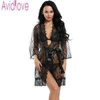 Avidlove Women Sexy Lingerie Hot Erotic Sleepwear 4pcs Lace Robe Sexy Unlined Bra G String Nightwear