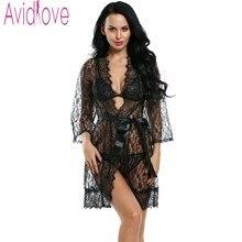 Avidlove Mulheres Sexy Lingerie Hot Erotic Pijamas 4 pcs Lace Robe Sexy Sem Forro Bra G-corda Roupa + Belt Plus Size Lingerie