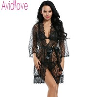Avidlove Women Sexy Lingerie Hot Erotic Sleepwear 4pcs Lace Robe Sexy Unlined Bra G String Nightwear