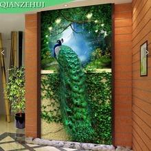 QIANZEHUI,DIY Bordado Diamante, Diamante Redondo Pavão Verde varanda 5D strass Completo pintura Diamante do ponto da cruz, bordados