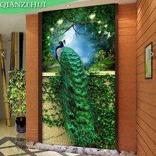 QIANZEHUI, bordado de diamantes de bricolaje, Pavo real verde de diamantes redondos porche completo Diamante de imitación 5D pintura de diamantes punto de cruz, costura