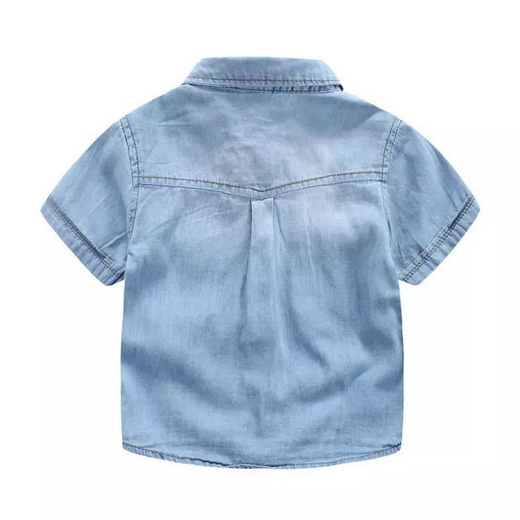 Boys Denim Shirt Short Sleeve Pocket Blouses With Embroidery Soldier For Boy Summer Boy Shirts Soft Childrens Jeans Shirt 3-10Y