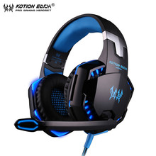цена на Kotion EACH Stereo Gaming Headphones G2000 Best casque Deep Bass wired Game Earphone with Mic LED Light for PS4 Computer  Laptop