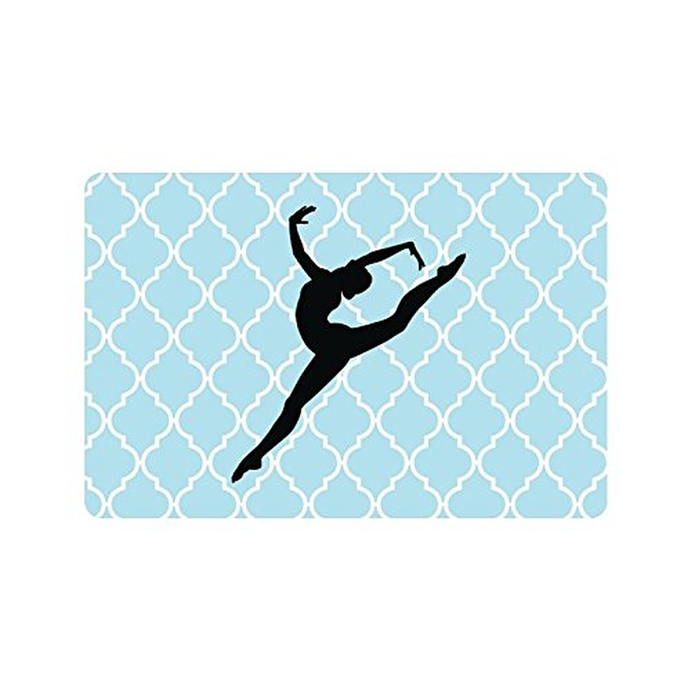 Rubber floor mats cheap - 23 6 L X 15 7 W Hipster Gymnastic Shadow On Blue White Quatrefoil