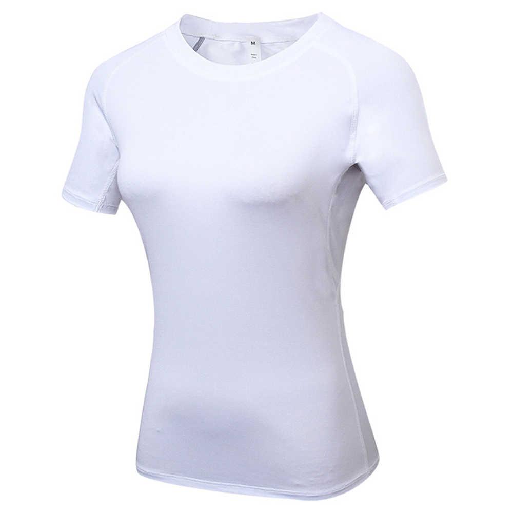 النساء مثير اليوغا قمم الصالة الرياضية اللياقة البدنية الجوارب الفتيات ملابس قصيرة الأكمام تشغيل ShirSt الجافة صالح أسود أبيض البلوزات قمصان