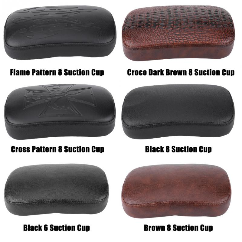 Brown Rear Passenger Pillion Pad Seat 8 Suction Cup For Harley Bobber Chopper