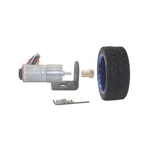 Image 3 - Dc 6V 12V 24V 12 1360 Rpm Mini Encoder Reductiemotor Met Koppeling 65Mm Wiel smart Tracking Line Smart Car Kit