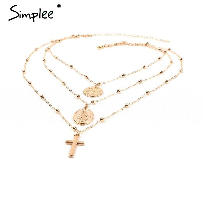 Simplee Erklärung multilayer goldene kette halskette frauen modeschmuck lange halskette streetwear charm frauen zubehör