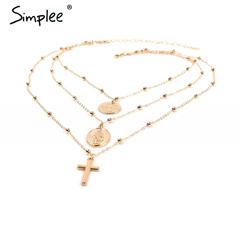 Simplee Statement multilayer golden chain necklace women Fashion jewelry long necklace streetwear Party charm women accessories