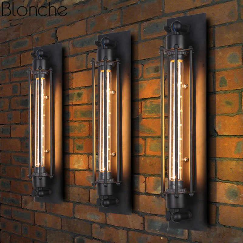 Винтаж промышленных Декор настенный светильник светильники Лофт флейта настенные бра светодио дный Спальня Кухня светильники бар домашнего освещения светильник